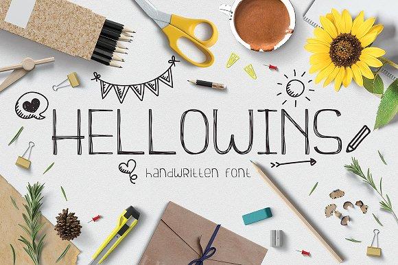 Hellowins趣味创作海报手写英文字体下载