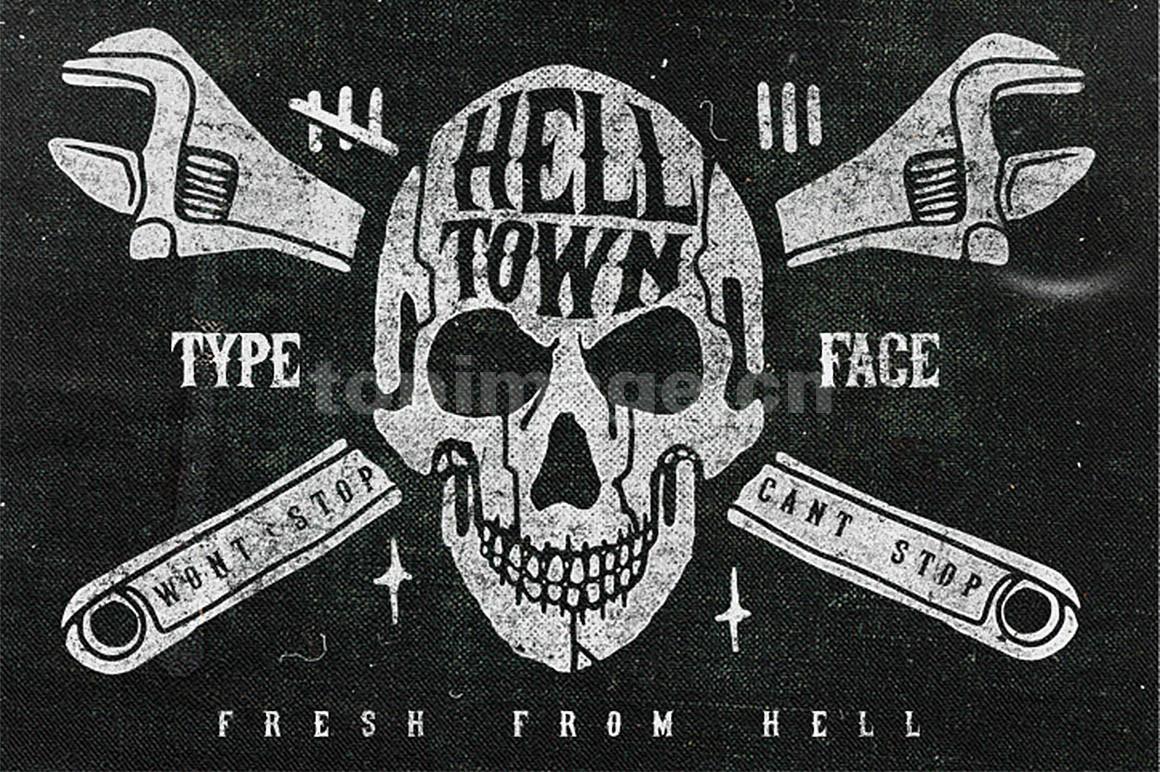 Helltown复古恐怖个性化质感艺术英文字体下载