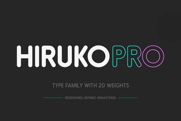 Hiruko家族系列圆润现代logo设计英文字体下载