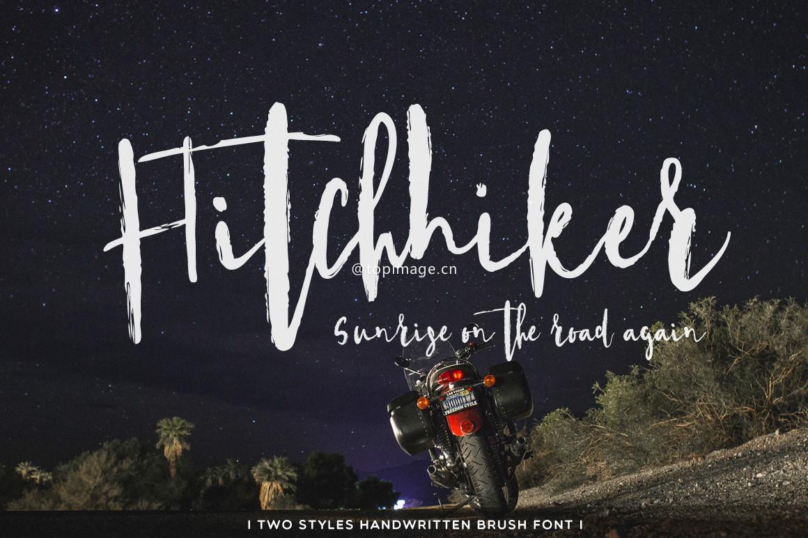 Hitchhiker个性海报手写笔刷英文字体下载