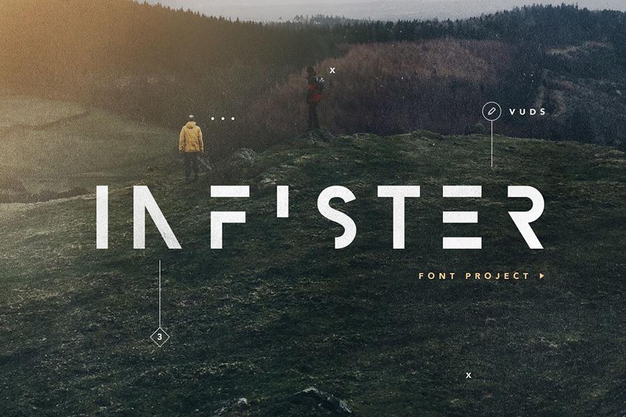 Infister创意现代分割艺术英文字体下载
