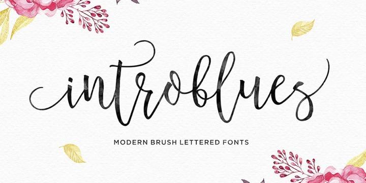 Introblues婚礼手写现代笔刷花体英文字体下载