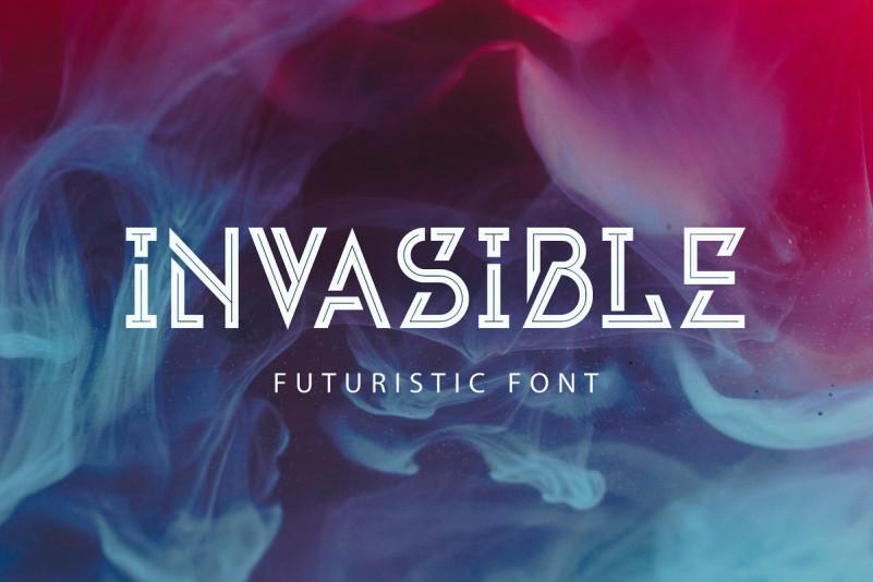 Invasible个性现代未来科幻科技英文字体logo下载
