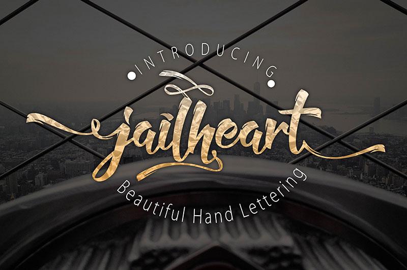 Jailheart手写花式连笔及无衬线英文字体下载