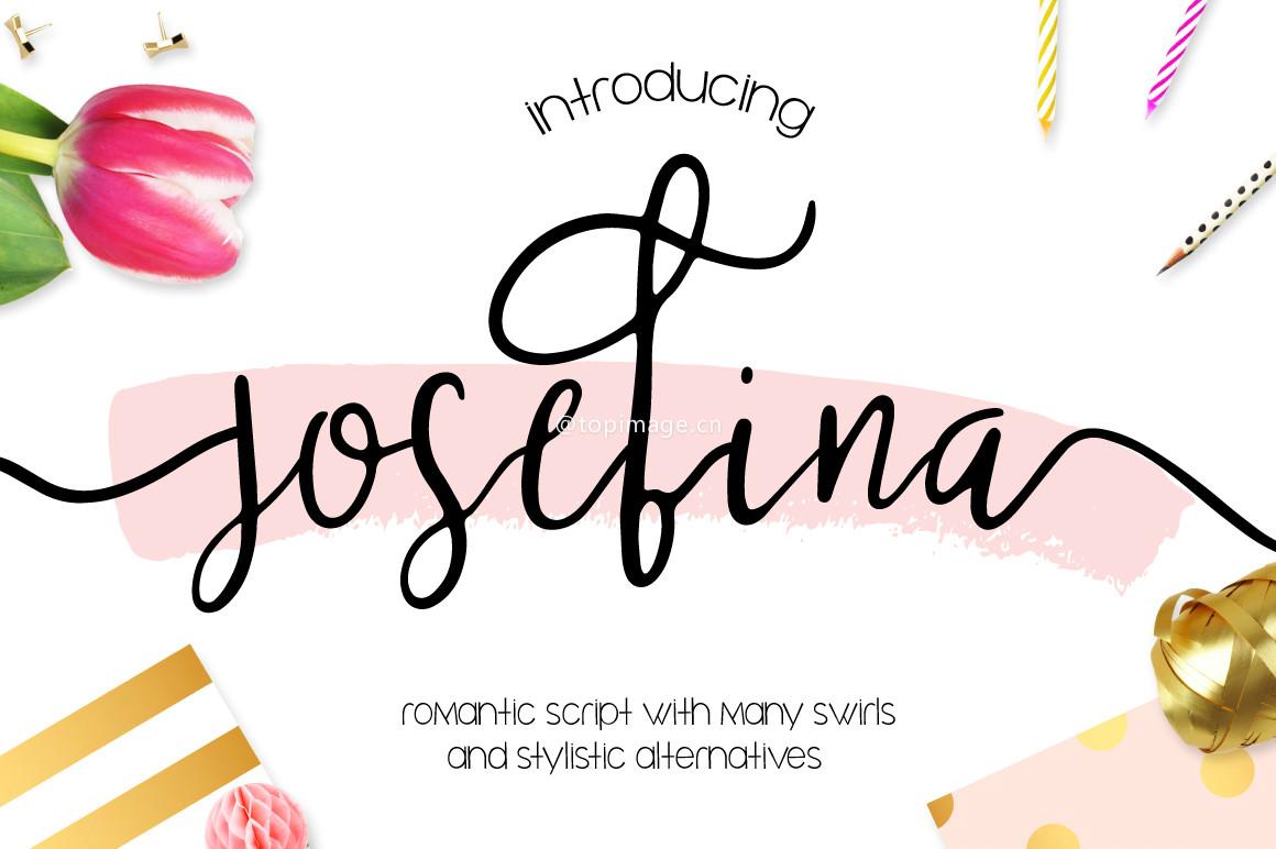 Josefina花式手绘摄影海报英文字体下载