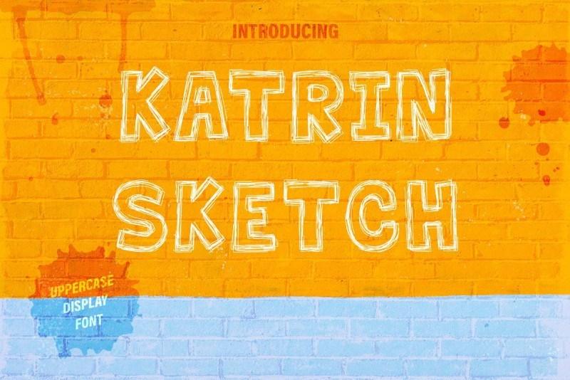 Katrin素描手写手绘空心英文字体下载