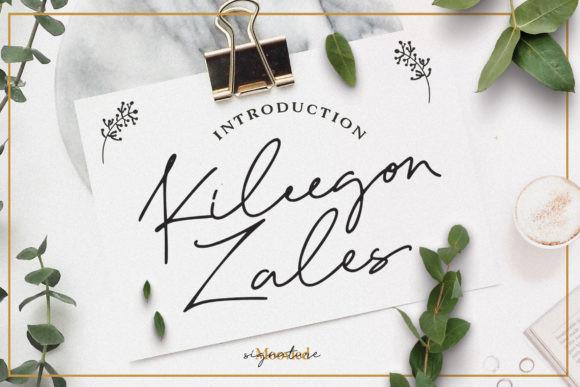 Kileegon Zales 手写连笔签名网红艺术英文字体下载