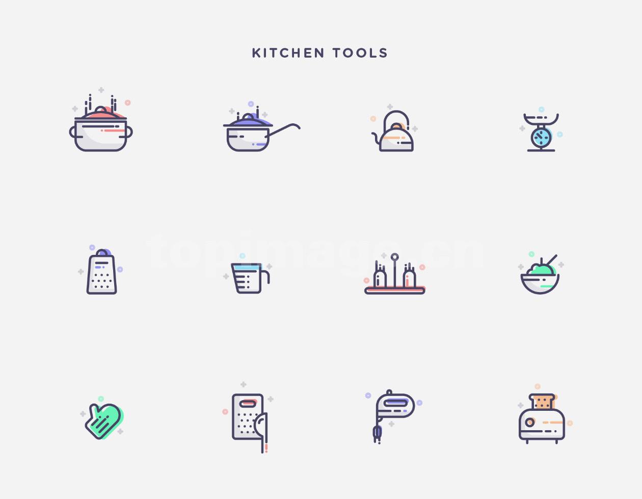 厨房用品icon 手套 水壶 锅 调味壶 碗 图标下载mbe风格