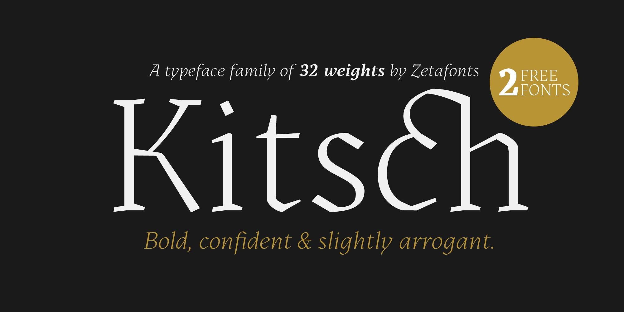 KitschKitsch衬线复古印刷排版设计英文字体下载