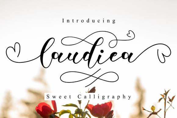 Laudiea花体连笔爱心婚礼logo英文字体下载