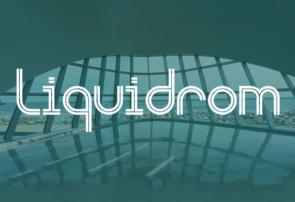 Liquidrom无衬线inline英文字体logo下载