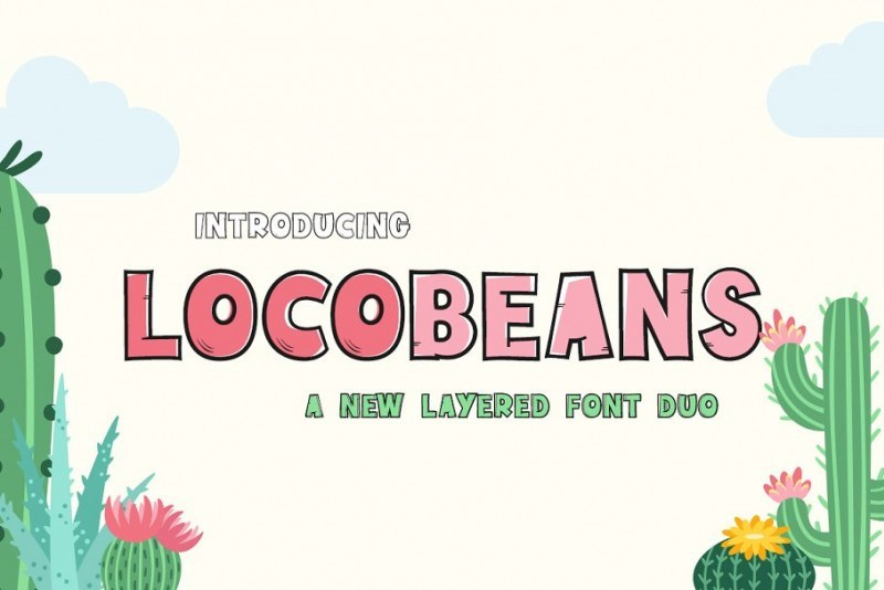 Locobeans手写手写卡通包装英文字体下载