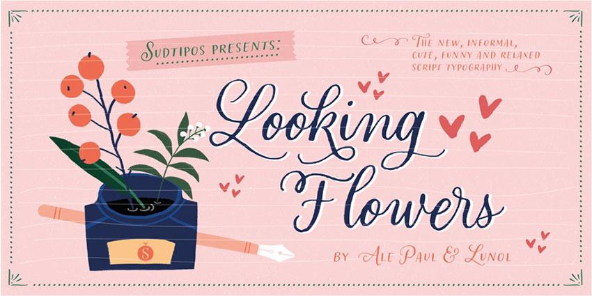 Looking Flowers花体婚礼好看的连笔英文字体下载