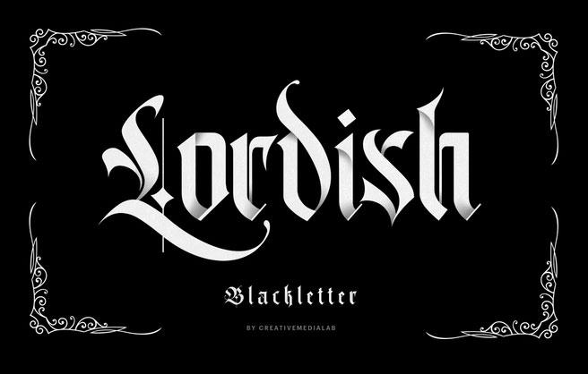Lordish哥特奇卡诺纹身英文字体下载