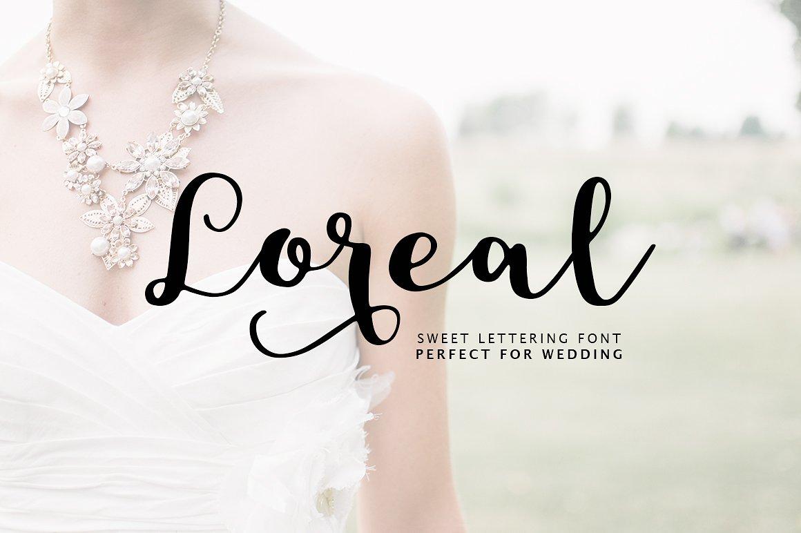 Loreal好看的婚纱手写连笔花式英文字体下载