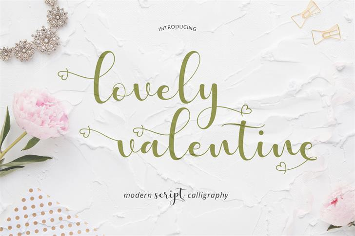 Lovely Valentine 现代手写爱心连笔婚礼英文字体下载