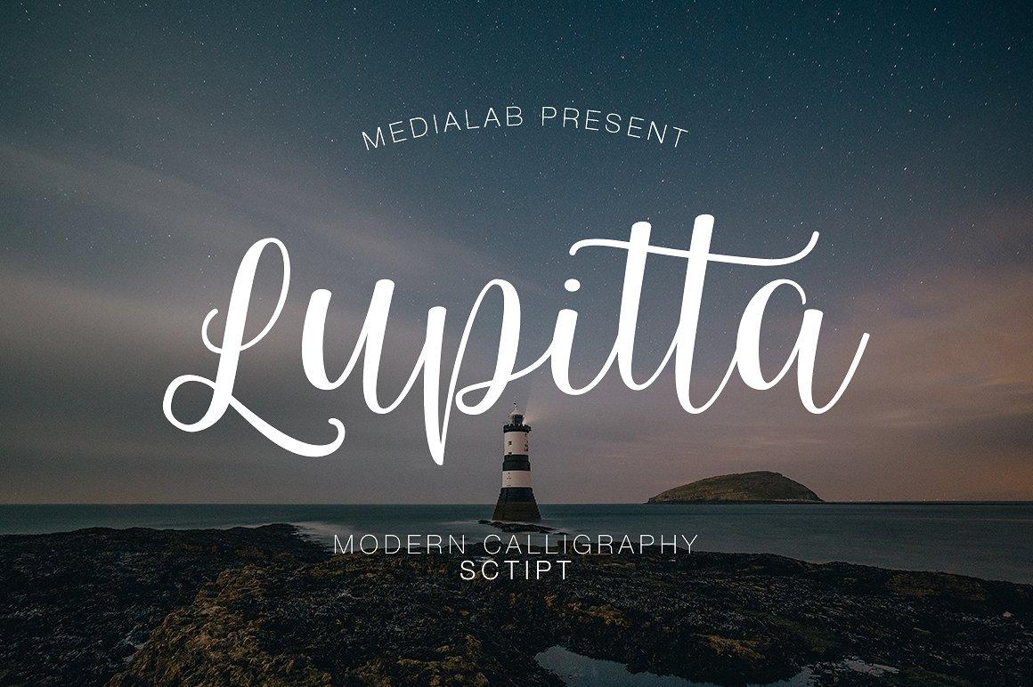 Lupitta摄影海报手写连笔花式英文字体下载