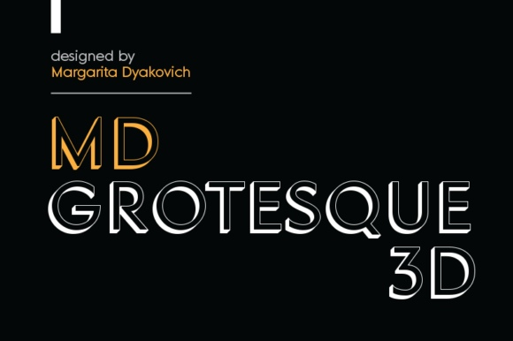 MD Grotesque 3D 立体现代设计logo英文字体下载