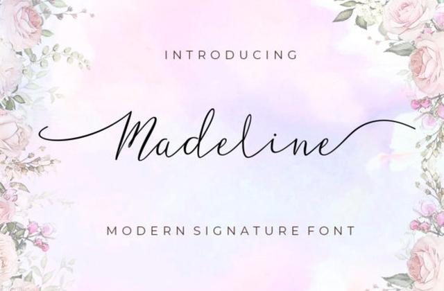 Madeline纤细手写连笔飘逸签名英文字体下载