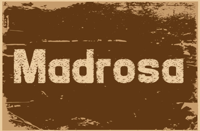 Madrosah破损纹理复古现代英文字体下载