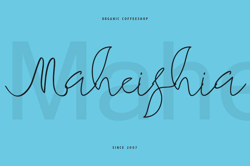 maheishia手写连笔签名水印店招英文字体下载