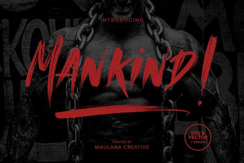 Mankind笔刷大气涂鸦海报英文字体下载