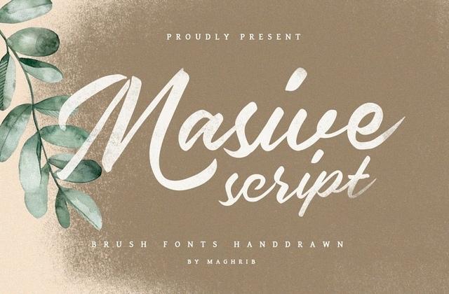 MasiveScript手写连笔时尚婚礼英文字体下载