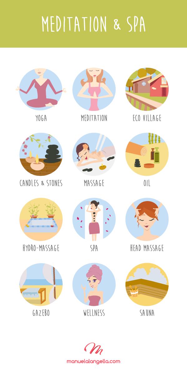 瑜伽 spa 火疗 美容养生相关女性 矢量插画图标icon扁平下载