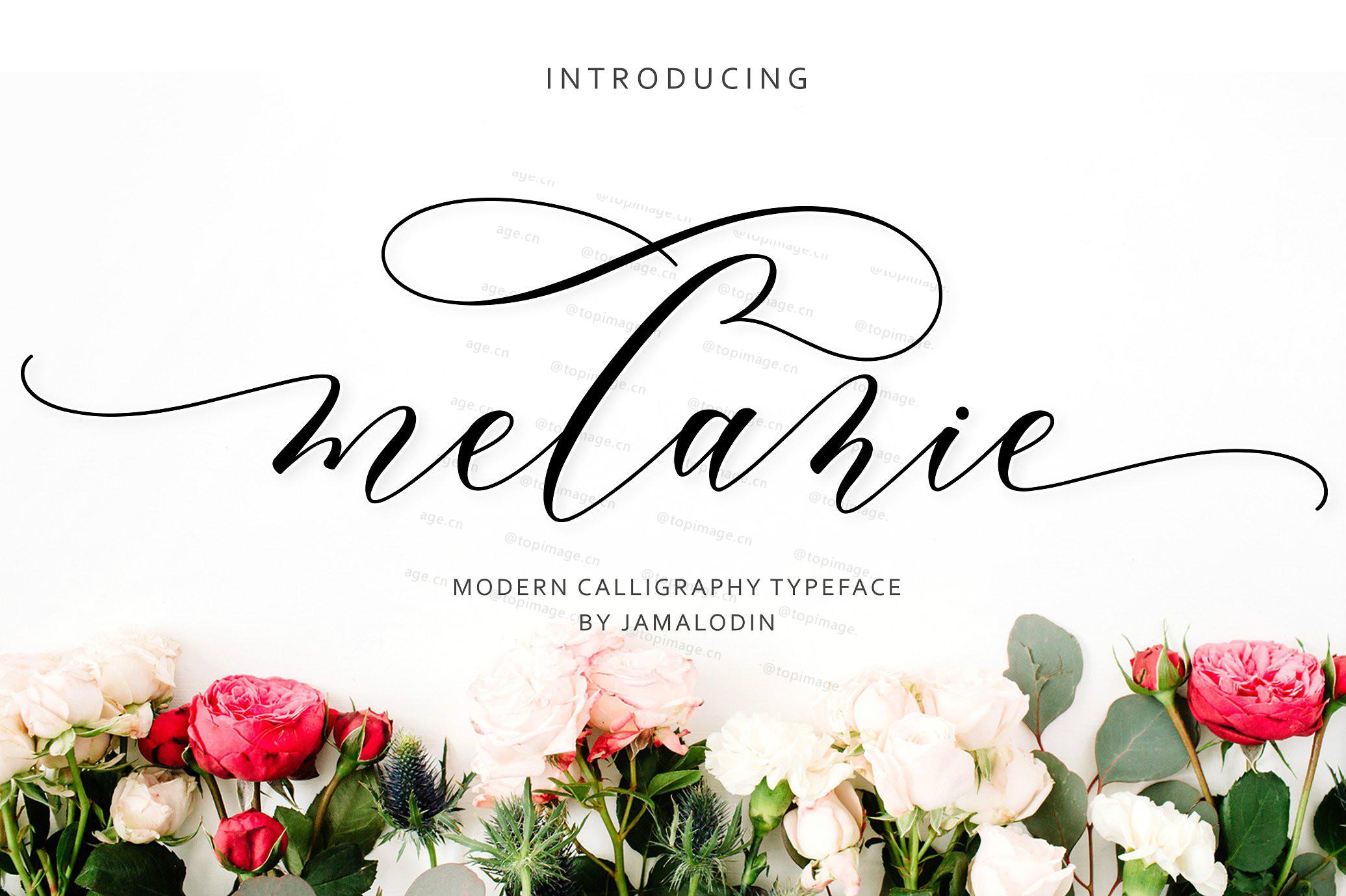 Melanie唯美婚礼菜单好看的英文字体下载