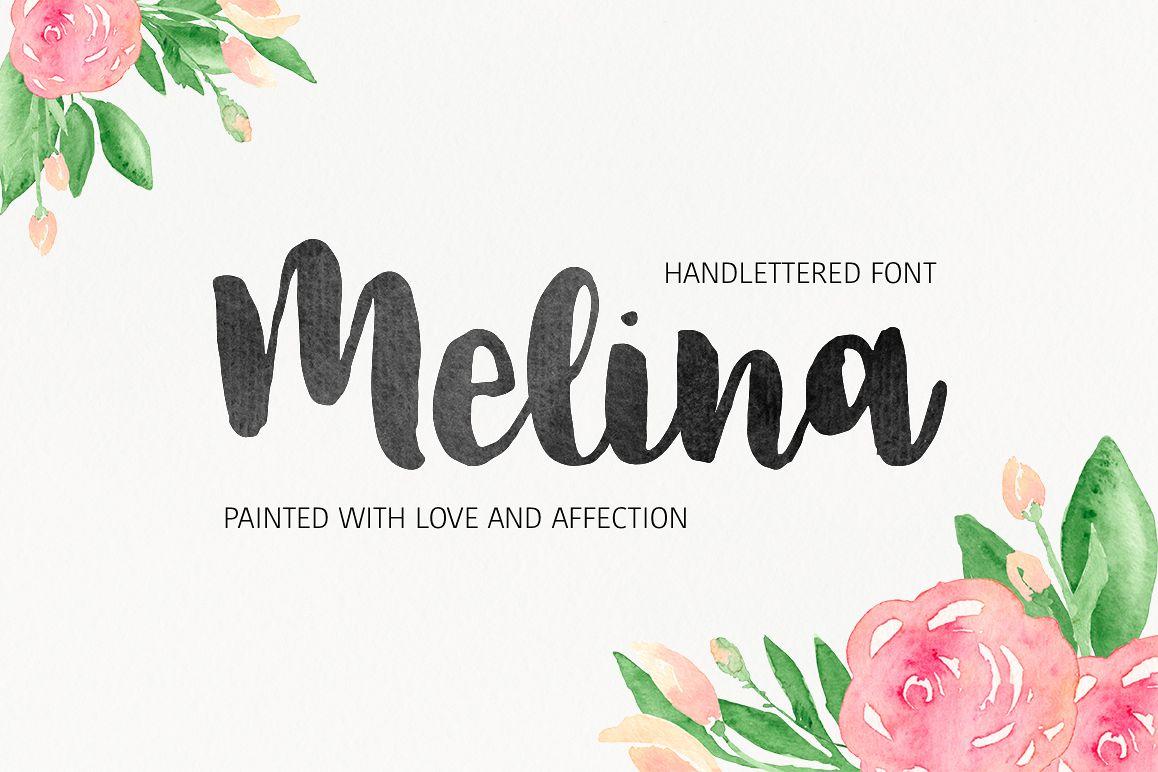 Melina婚纱手写连笔好看的水墨英文字体下载