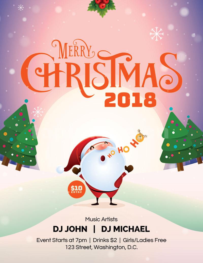 2018圣诞节卡通圣诞老人海报psd源文件下载