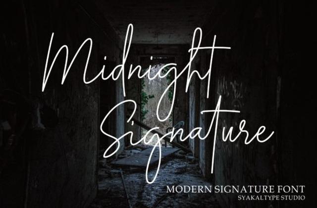 Midnight Siganture手写签名连笔艺术英文字体下载