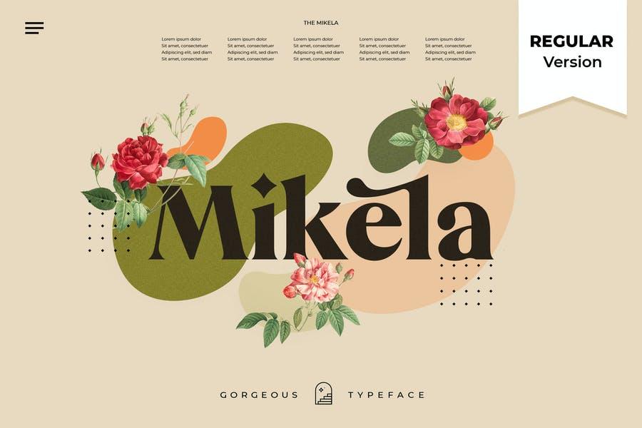 Mikela衬线创意连笔设计优雅英文字体下载