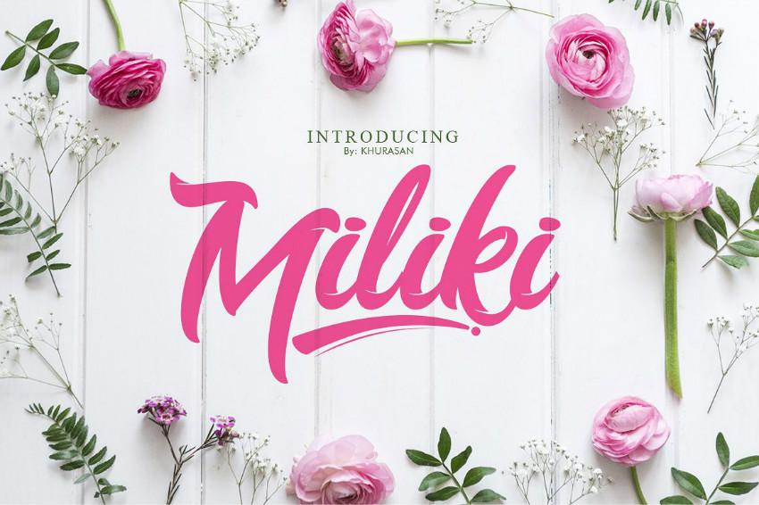 Miliki手写时尚服装连笔花店logo电商英文字体下载