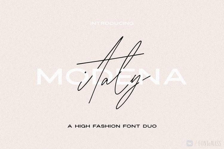 Modena手写时尚服装包装设计英文字体下载