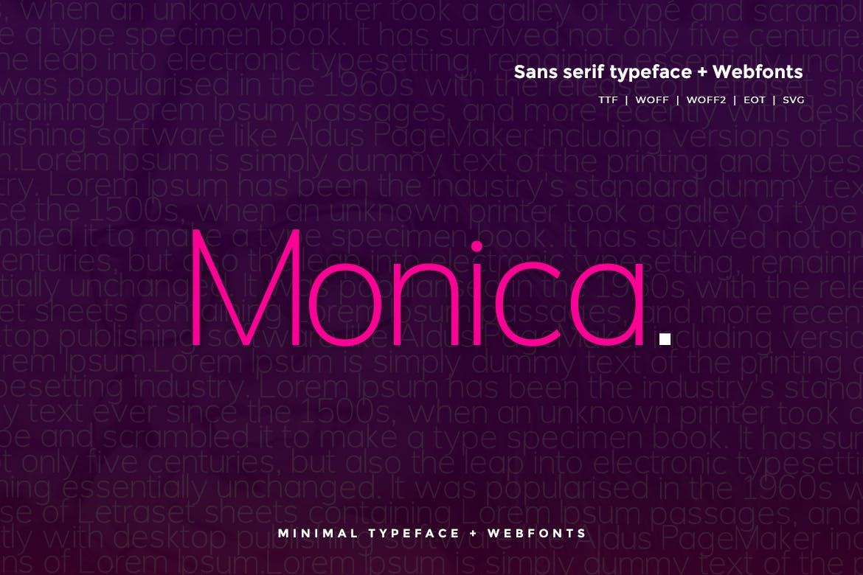 Monica Pro 细长现代无衬线logo英文字体下载