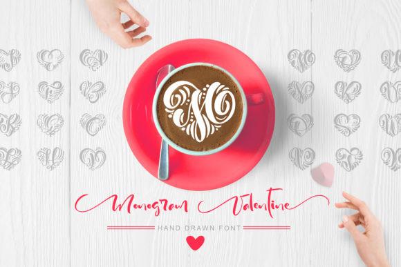 MonogramValentine心形咖啡拉花个性手写英文字体下载