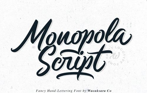 MonopolaScript优美手写连笔海报英文字体下载