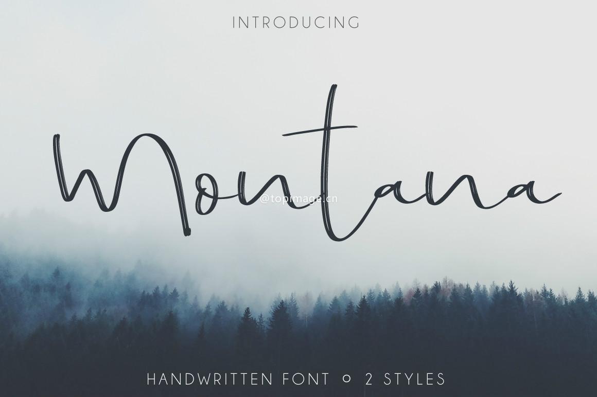 Montana帅气笔刷连笔手写海报英文字体下载