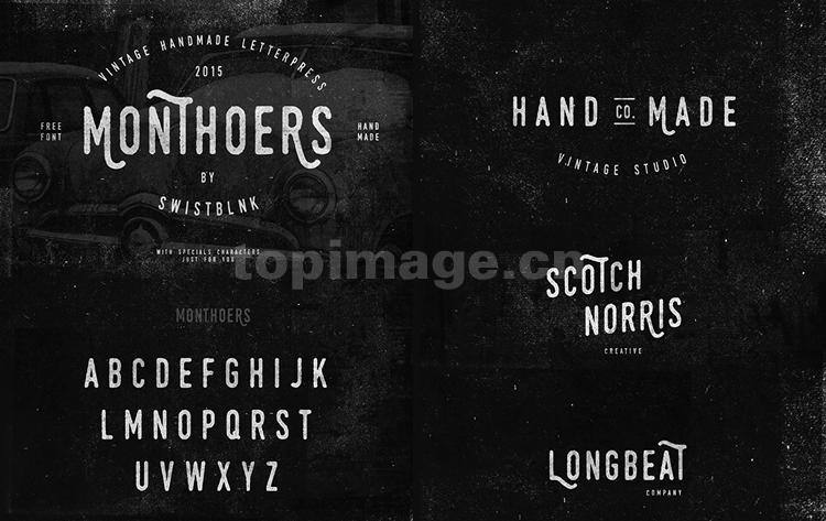 Monthoers破损复古手写手绘英文字体