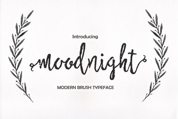 Moodnight Script 笔触手写连笔毛笔英文字体下载