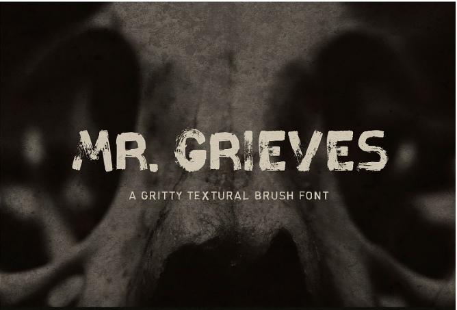 MrGrieves笔刷笔触干画笔英文字体下载