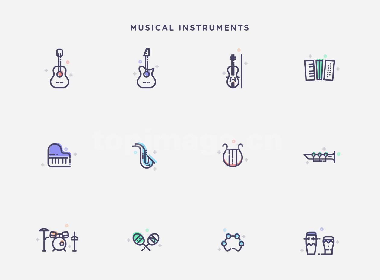 乐器 icon mbe 风格 手风琴 架子鼓 吉他小提琴 手鼓 小号 风琴 尤克里里   图标下载