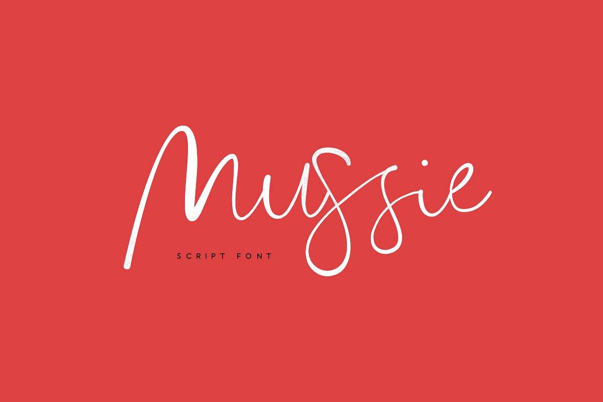 Mussie手写手绘连笔时尚服装英文字体下载