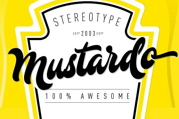 Mustardo餐饮产品包装logo手写英文字体下载