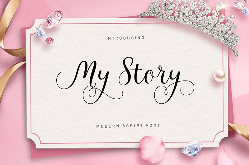 MyStory婚纱海报邀请函英文字体下载