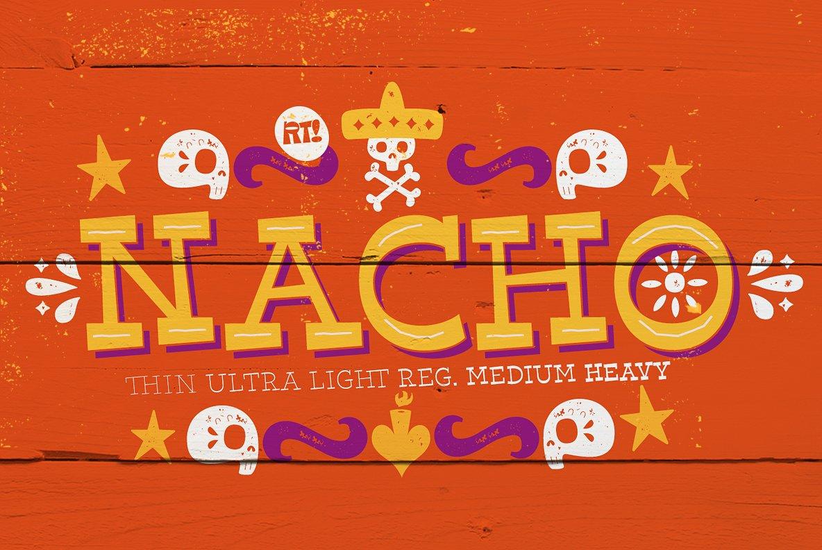 Nacho可爱卡通个性排版包装英文字体下载