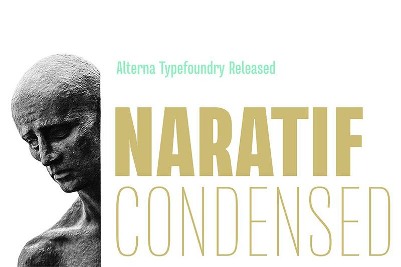 Naratif Condensed现代排版logo设计海报家族英文字体下载