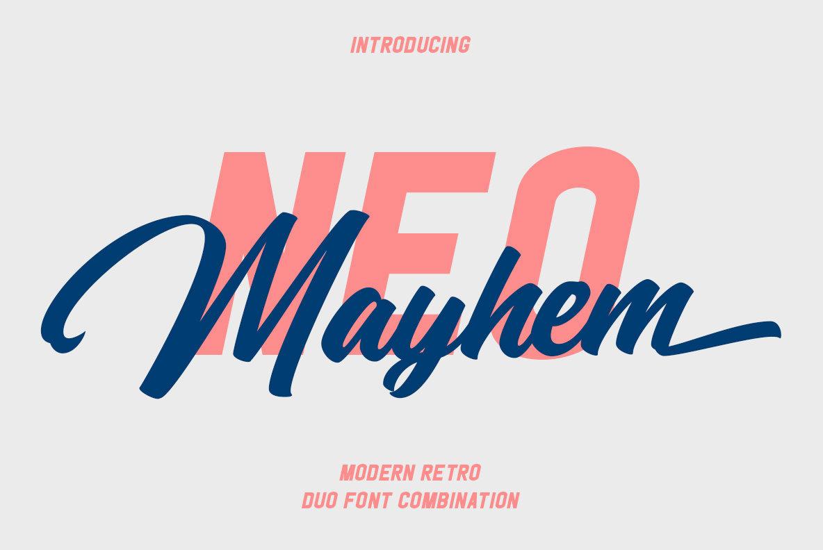 NeoMayhem大气手写及现代logo英文字体下载(含图中两种字体)