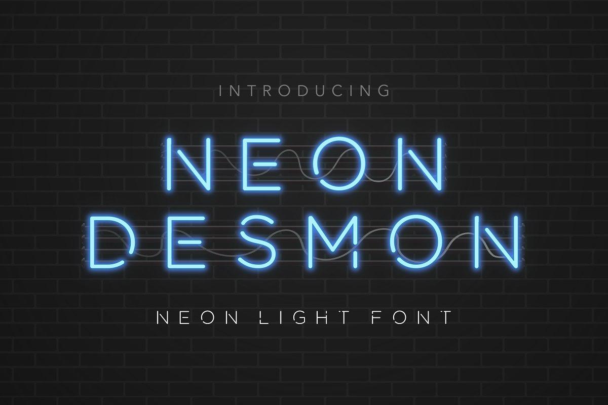 NeonDesmon霓虹灯发光字线条英文字体下载